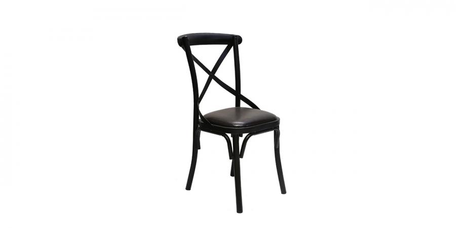 ბარის სკამი ტყავის ბალიშით, შავი