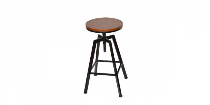 ბარის სკამი ხის ზედაპირით, შავი/ყავისფერი