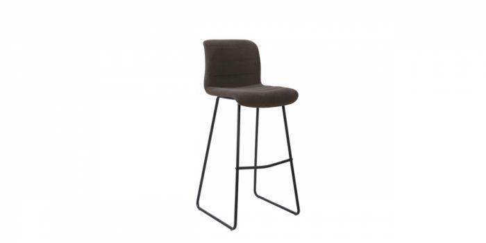 ბარის სკამი ხავერდოვანი ნაჭერის, ყავისფერი