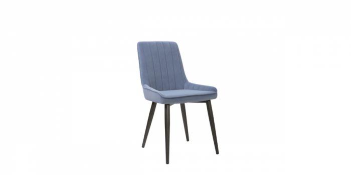 სასადილოს სკამი ნაჭრის ზედაპირით, ცისფერი
