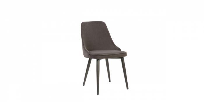 სასადილოს სკამი ნაჭრის ზედაპირით, მუქი ნაცრისფერი