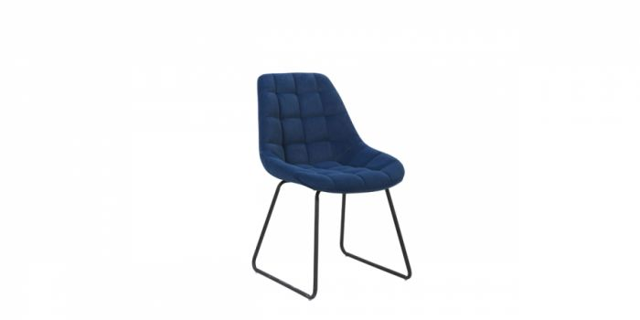 სასადილოს სკამი ნაჭრის ზედაპირით, ლურჯი