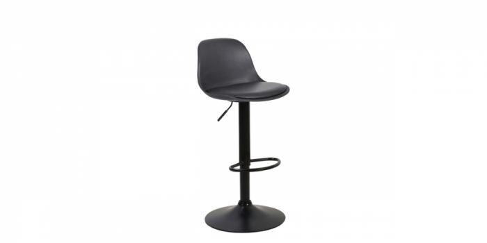 ბარის სკამი ტყავის, შავი