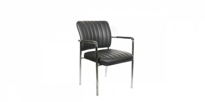 საკონფერენციო სკამი ტყავის, შავი