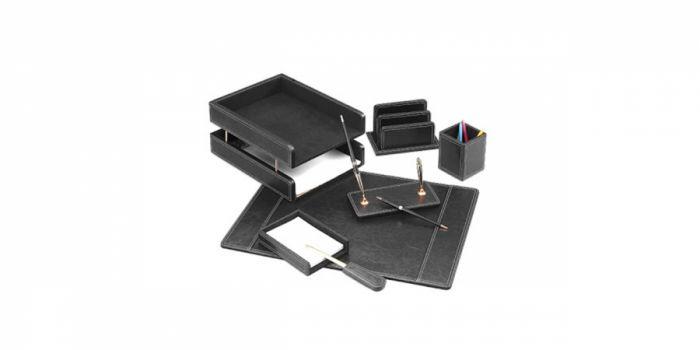 სამაგიდე ნაკრები ტყავის, 7 საგნით, შავი, Forpus