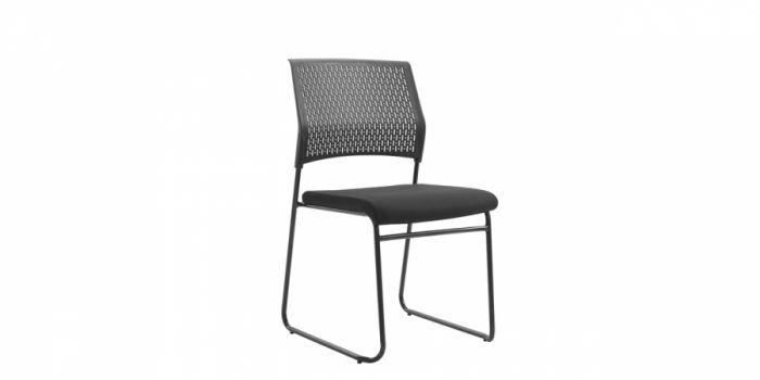 საკონფერენციო სკამი ბადის ზედაპირით, შავი