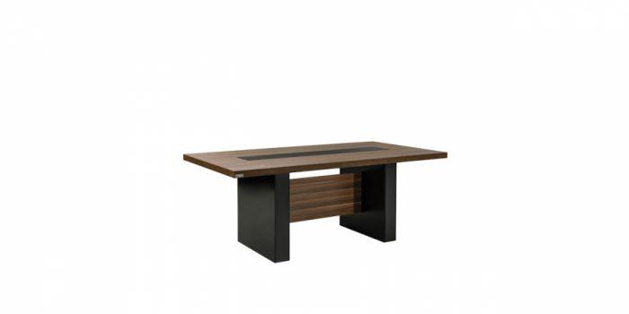 საკონფერენციო მაგიდა, ტყავის ჩანართით