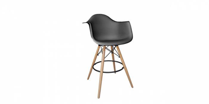 ბარის სკამი პლასტიკური ზედაპირით, შავი