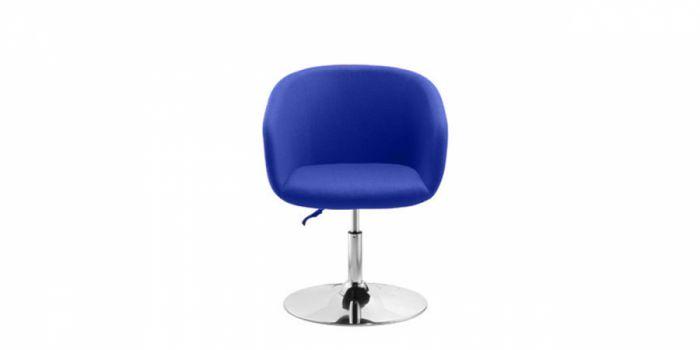ბარის სკამი ნაჭრის ზედაპირით, მეტალის ქრომირებული ფეხით