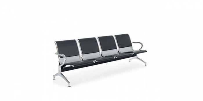 მოსაცდელი სკამი მეტალის, 4 ადგილიანი, ტყავის