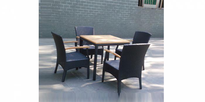 რატანის მაგიდა 4 სკამით