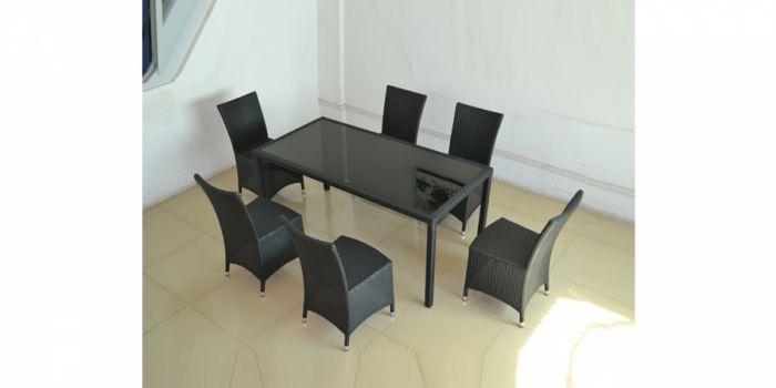 რატანის მაგიდა 6 სკამით