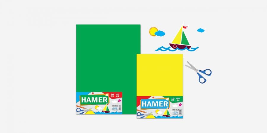 ფერადი ფურცელი A4, 250გრ., Hamer, 10 ფერიანი