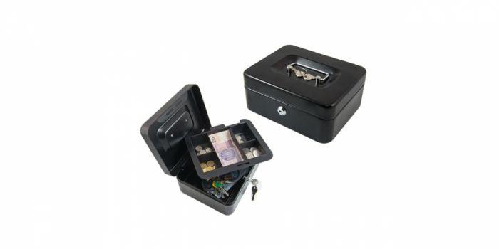 სალაროს ყუთი მეტალის, პატარა, გასაღებით, შავი