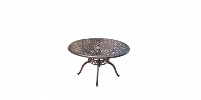 მაგიდა ჭედური მეტალის ზედაპირით, ბრინჯაოსფერი