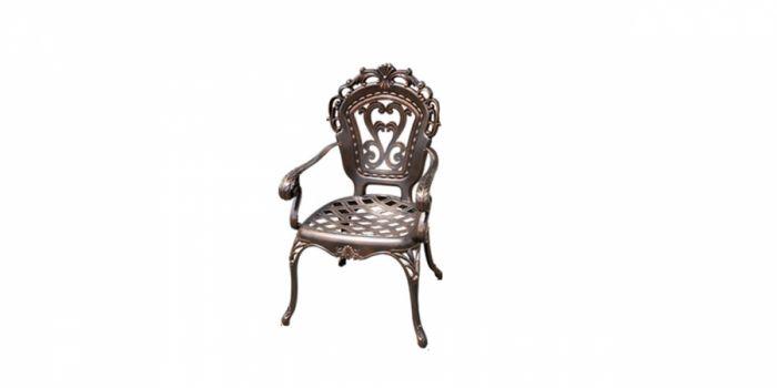 სკამი სახელურით ჭედური, ბალიშის გარეშე