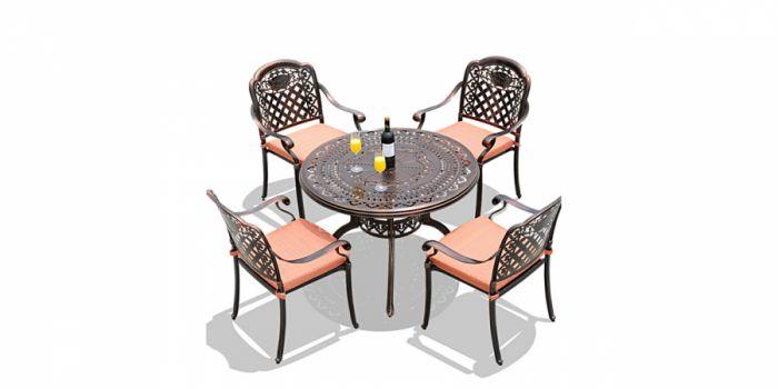 მაგიდა 4 სკამით, ჭედური