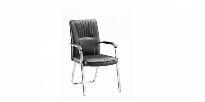 საკონფერენციო სკამი შავი ტყავის ზედაპირით
