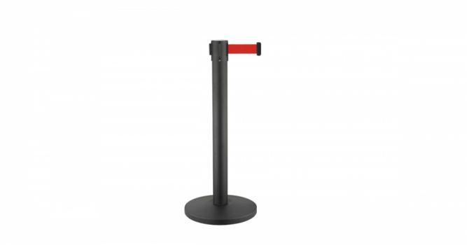 ბარიერი მეტალის შავი, 3 მ. წითელი ლენტით