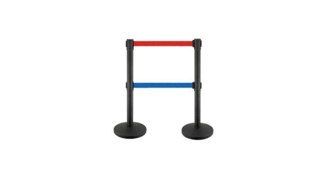ბარიერი მეტალის შავი, 3მ.  წითლი და შავი ორი ლენტით