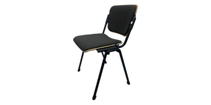 სკამი ERA WOOD BLACK PLUS, ნაცრისფერი ნაჭრის და ხის ზედაპირით