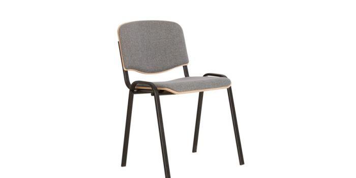 სკამი ISO WOOD BLACK PLUS, ნაცრისფერი ნაჭრის და ხის ზედაპირით