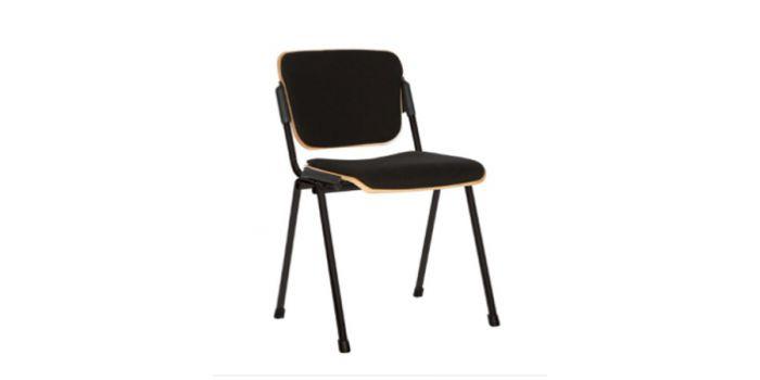 სკამი ISO WOOD BLACK PLUS, შავი ნაჭრის და ხის ზედაპირით
