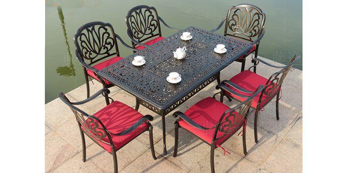მაგიდა ოთხკუთხედი ჭედური, ალუმინის