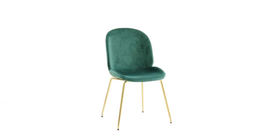 სასადილოს სკამი ნაჭრის ზედაპირით, მწვანე