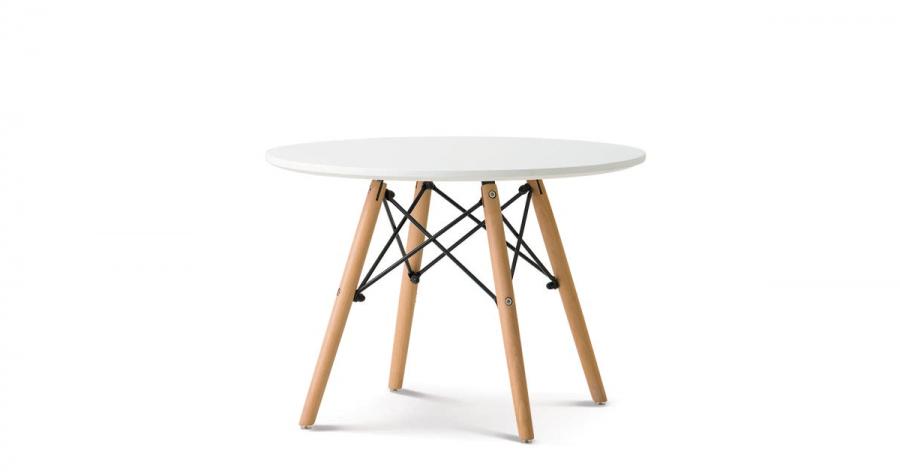 ჟურნალის მაგიდა მდფ., ხის ფეხით, თეთრი