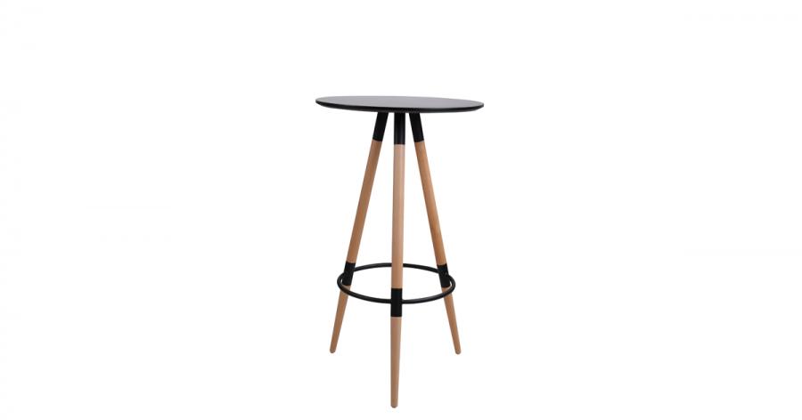 ბარის მაგიდა, მდფ., ხის ფეხით, შავი