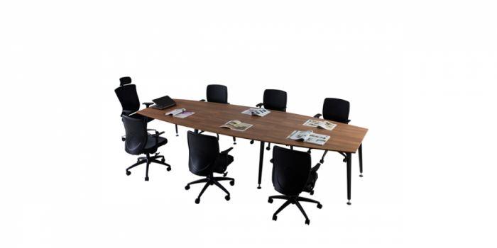 საკონფერენციო მაგიდა LEGOLD LMS04, მეტალის ფეხით, მუქი კაკალი