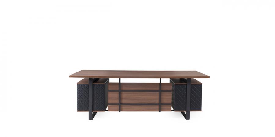 მაგიდა ROHAN, მეტალის ფეხით, ტყავის ჩანართებით, მუქი კაკალი/შავი