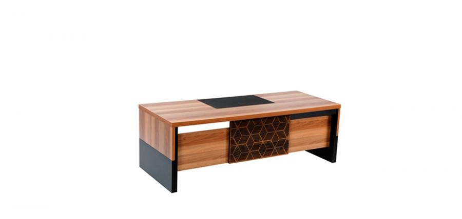 მაგიდა MITRA, ხის ფეხით, მუქი კაკალი/შავი