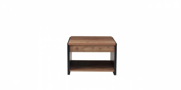 ჟურნალის მაგიდა MITRA, ხის ფეხით, მუქი კაკალი/შავი