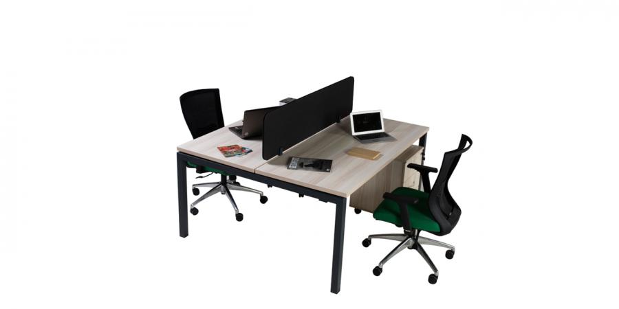 ორმხრივი მაგიდა MOTTO PS07, ორ ადგილიანი, 2 ტუმბოთი, ღია ნაცრისფერი ხე/ანტრაციტი