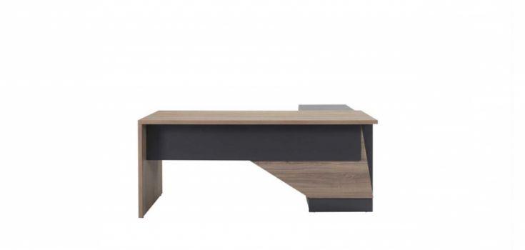 მაგიდა SMART, მისადგმელი თაროებით და ტუმბოთი, ნაცრისფერი ხე/ანტრაციტი