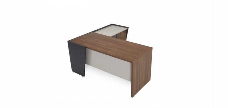 მაგიდა MYSTIC, მისადგმელი თაროებით და ტუმბოთი, მუქი კაკალი/ანტრაციტი/თეთრი