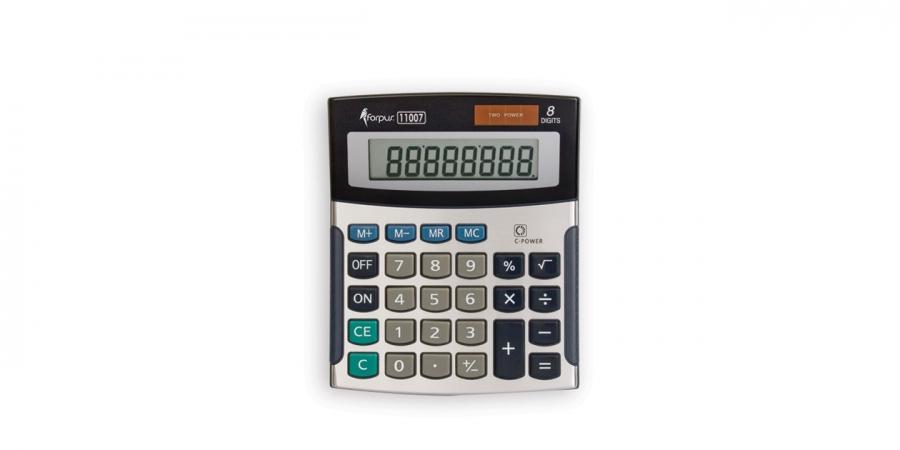 კალკულატორი 8 თანრიგიანი, 13.3x11.2x3.5სმ., ვერცხლისფერი