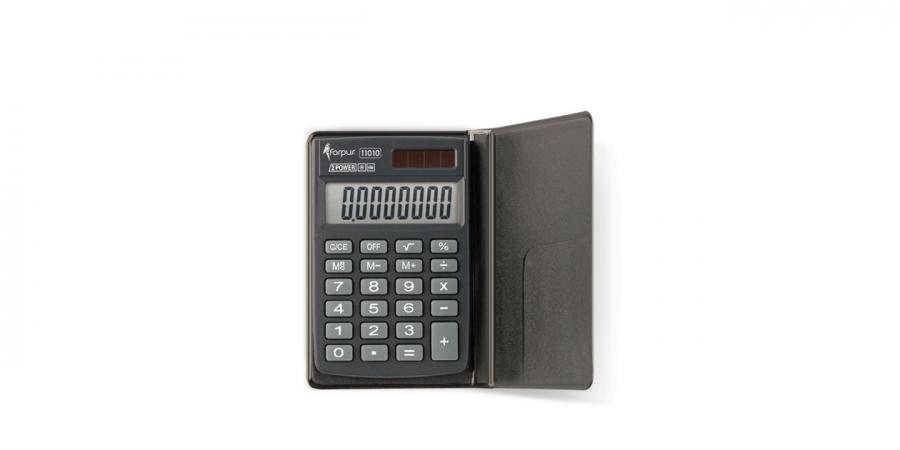კალკულატორი ჯიბის 8 თანრიგიანი, 8.8x5.9x1სმ., დამცავი პლასტიკური ქეისით