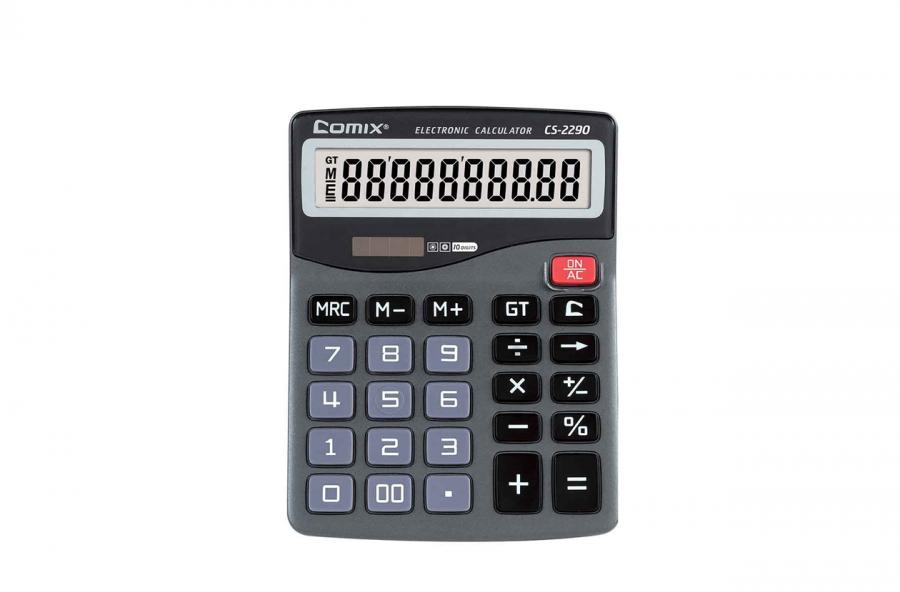 კალკულატორი, 10 თანრიგიანი, 15.8x12x3.5სმ., ნაცრისფერი
