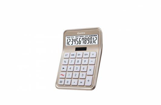კალკულატორი 12 თანრიგიანი, 17.7x12.7x4.3სმ., ოქროსფერი