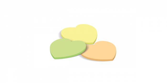 ჩასანიშნი წებოვანი, 40 ფურცელი, გულის ფორმის, ყვითელი