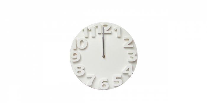 საათი კედლის პლასტიკური 3D, Ø30x4.2სმ., თეთრი