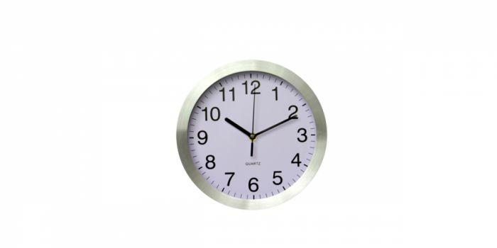 საათი კედლის ალუმინის, Ø30x4.2სმ.