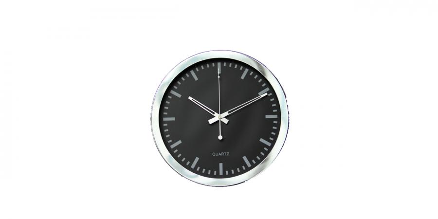 საათი კედლის პლასტიკური, ვერცხლისფერი ჩარჩო, Ø35x4.2სმ.