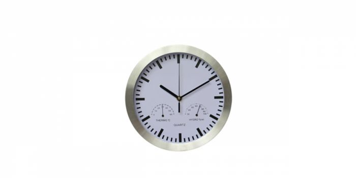 საათი კედლის ალუმინის, ჰიგრომეტრით და თერმომეტრით, Ø25x4.2სმ., თეთრი