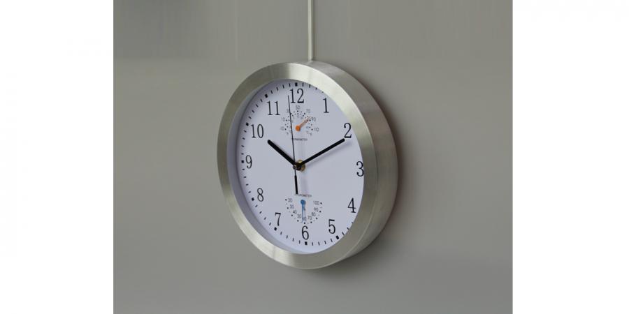 საათი კედლის ალუმინის ჰიგრომეტრით და თერმომეტრით, Ø25x4.2სმ., თეთრი