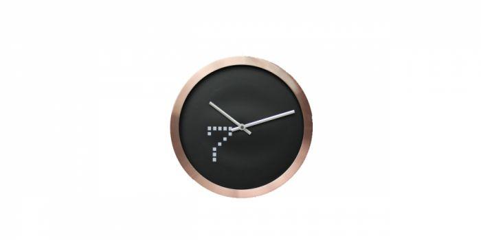 საათი კედლის ოქროსფერი ალუმინის ჩარჩოთი, Ø30x4.2სმ., შავი