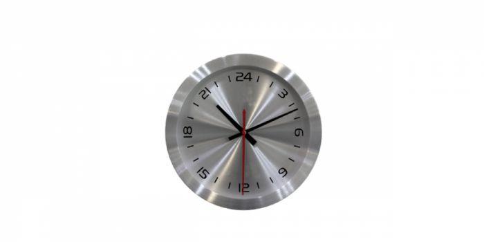 საათი კედლის ალუმინის, 24 საათიანი, 25x4.2x25სმ., ვერცხლისფერი